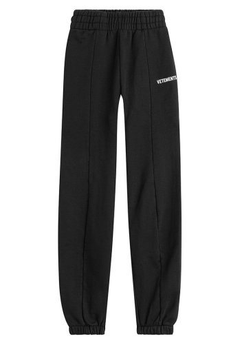 Vetements black cotton logo sweatpants as seen on Rihanna
