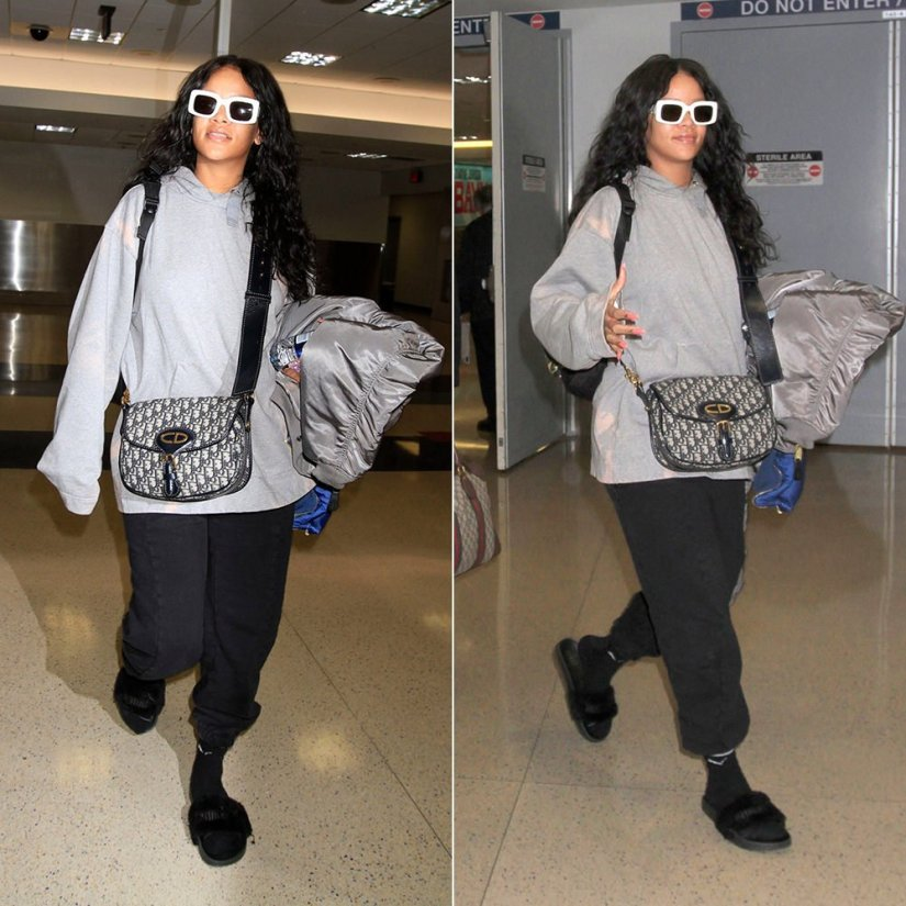 Rihanna Acne Studios tie dye Florida skull hoodie, Vetements x Alpha Industries grey reversible bomber jacket, Vetements black logo sweatpants, Fenty x Puma fur slides, Puma Heritage striped socks, RAEN flatscreen sunglasses