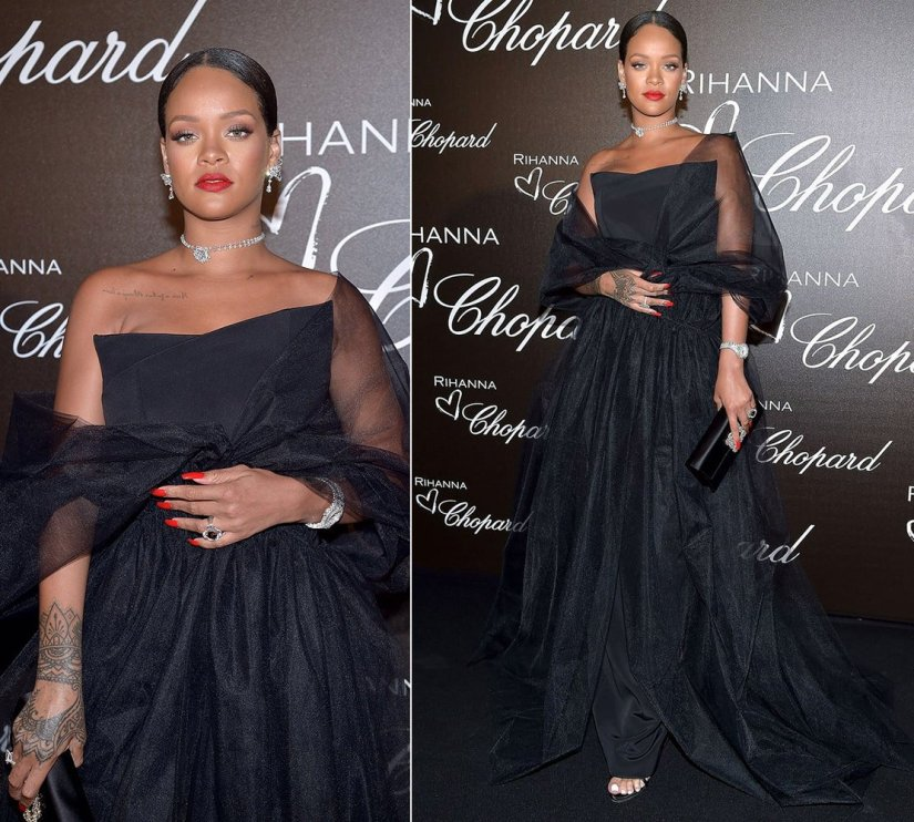 Rihanna Cannes Ralph Russo black gown, Chopard diamond earrings, watch and rings, Giuseppe Zanotti suede mules, Roger Vivier flower crystal envelope clutch