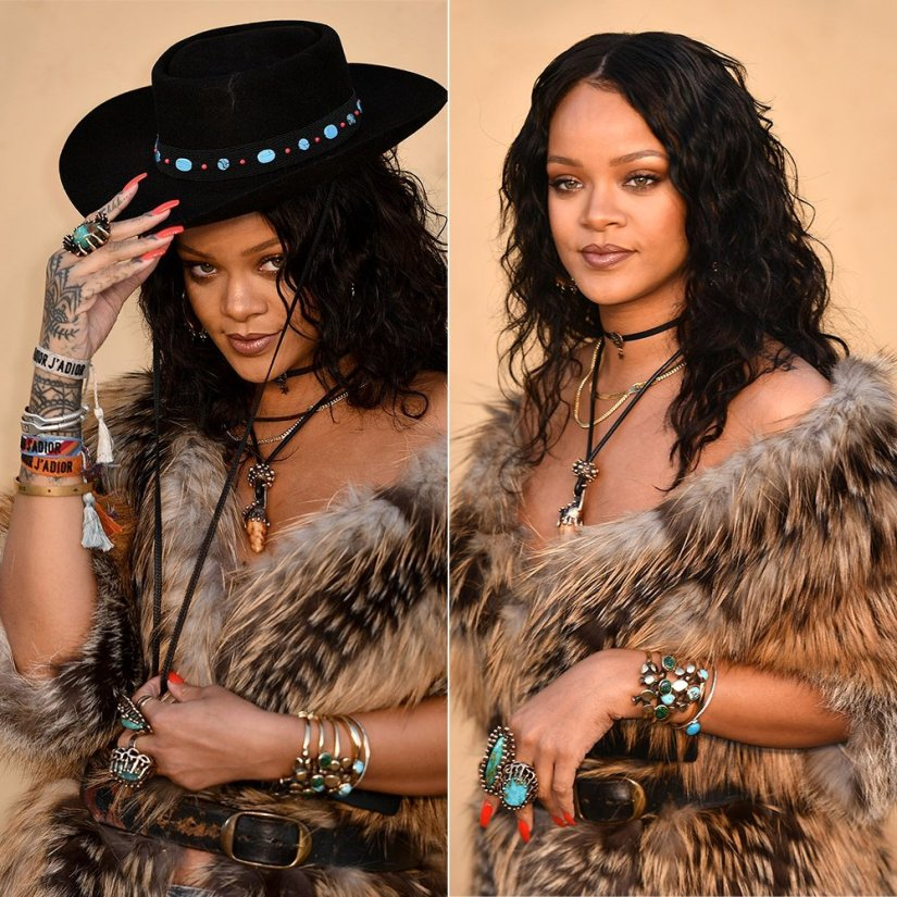 Rihanna Dior Cruise 2018 fashion show wearing Lisa Eisner turquoise rings, spore bracelets and pendant necklace