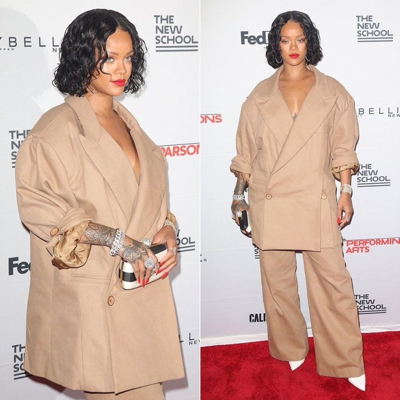 Rihanna Parsons School Design benefit Matthew Adams Dolan custom oversized pantsuit, Roger Vivier striped boite de nuit clutch, Manolo Blahnik white snakeskin pumps, Etho Maria yellow and white diamond bracelet, XIV Karats diamond bracelets
