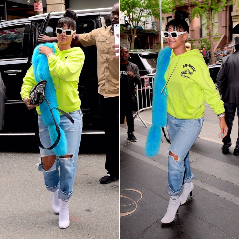 Rihanna Off White yellow logo hoodie, Pologeorgis blue fur stole, Vetements white sock boots, Raen flatscreen white sunglasses, Dior handbag
