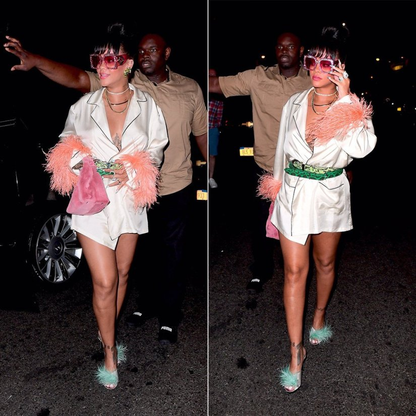 Rihanna 2017 Met Gala after-party Prada feather-trimmed robe and satin mules, Gucci oversized crystal sunglasses, The Row pink fur handbag, Jill Heller vintage peridot earrings, Pat Areias Sterling snakeskin belts, XIV Karats gold chains