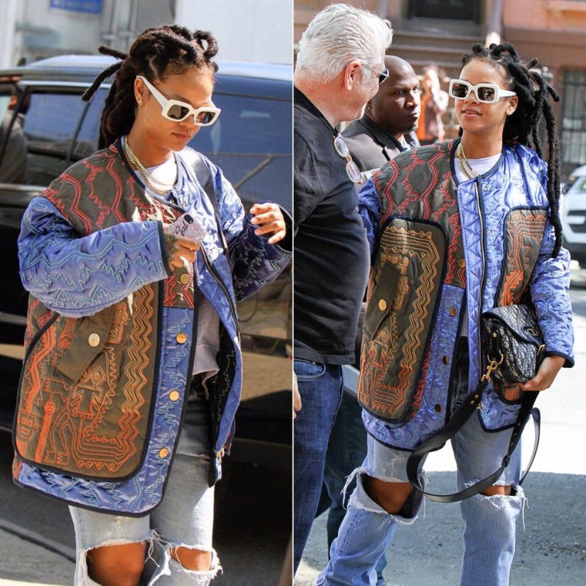 Rihanna Peter Pilotto Fall 2017 quilted jacket, Raen flatscreen sunglasses, Dior handbag, Richesse NYC custom Swarovski crystal Bad Gal iPhone case