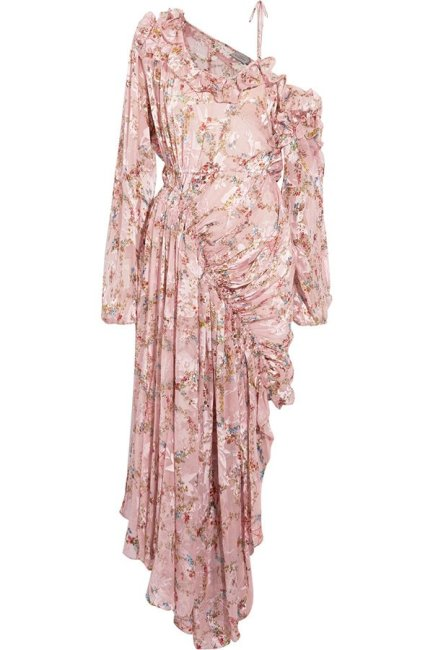 Preen by Thornton Bregazzi Eckhart floral print ruffled cold shoulder dress as seen on Rihanna
