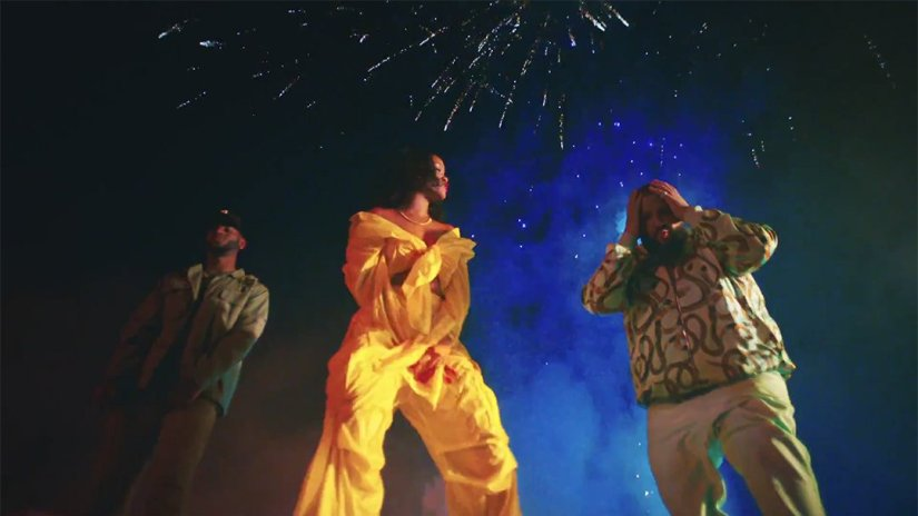 Rihanna DJ Khaled Wild Thoughts music video Matthew Adams Dolan yellow nylon shirt and cargo pants