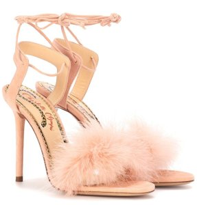 Charlotte Olympia Salsa feather-trimmed sandals as seen on Rihanna