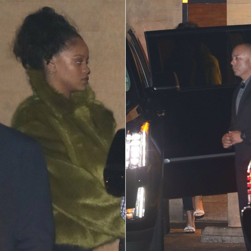 Rihanna Dries Van Noten green fur jacket Fall 2017, Christian Louboutin Crystal Queen embellished sandals