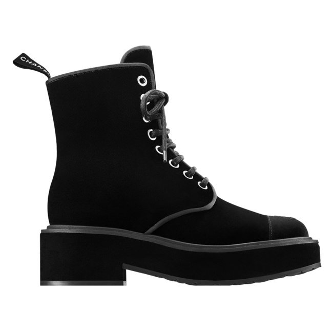 Chanel velvet lace-up boots as seen on Rihanna