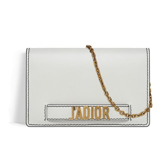Dior J'adior white wallet on chain pouch