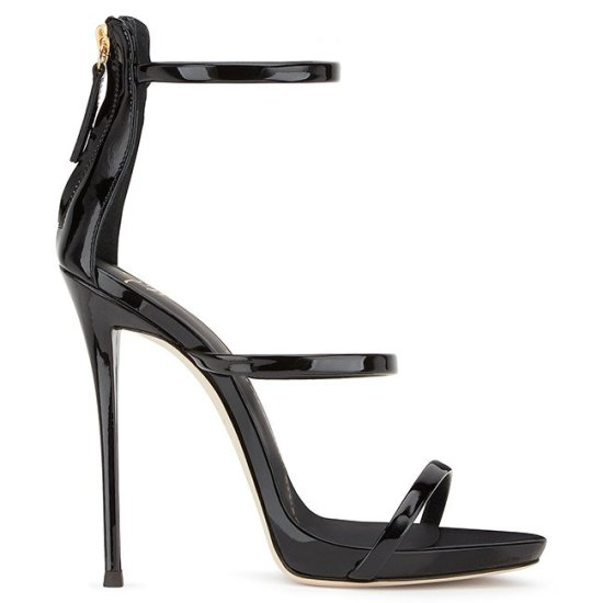 Giuseppe Zanotti black patent Harmony sandals as seen on Rihanna