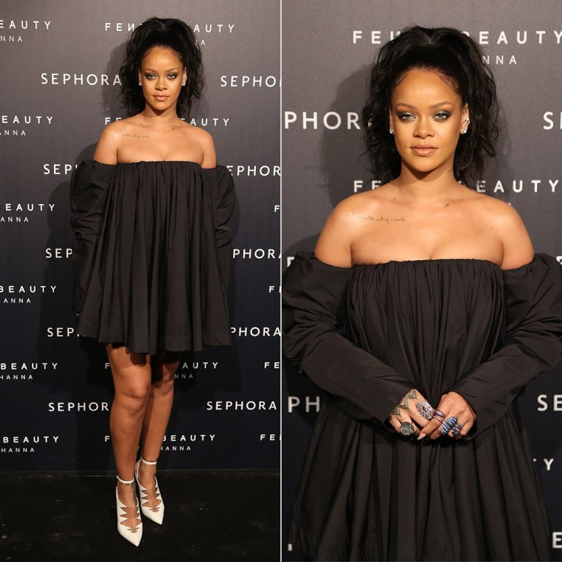 Rihanna Calvin Klein black dress, white pumps, Etho Maria ring at Fenty Beauty launch event at Sephora Paris