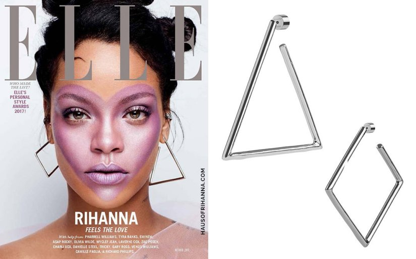 Rihanna Elle magazine October 2017 Jennifer Fisher triangle and square hoop earrings