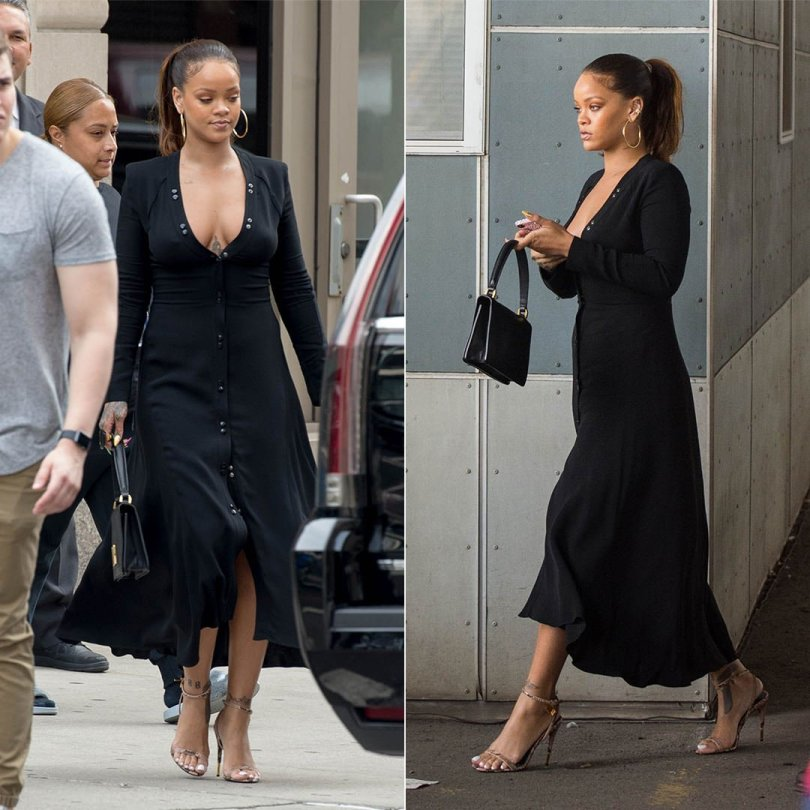 Rihanna Nina Ricci button maxi dress, Tom Ford python padlock sandals, Dior Diorevolution handbag, Jennifer Fisher classic round hoop earrings, Richesse NYC crystal iphone case