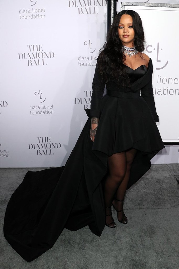 Rihanna Diamond Ball 2017 Ralph and Russo black gown, Chopard choker and diamond necklace, Giussepe Zanotti black Harmony sandals