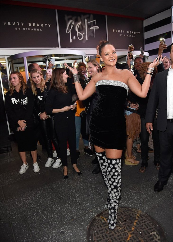 Rihanna Sephora Fenty Beauty launch black velvet Oscar de la Renta dress and crystal-embellished suede boots, Etho Maria diamond bracelet