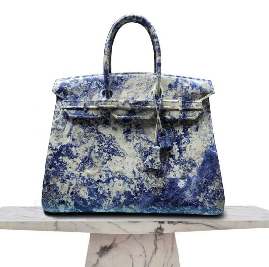 Barbara Segal Blue Candy Birkin bag stone sculpture owned by Rihanna