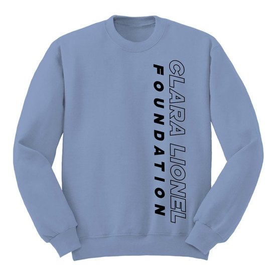 Clara Lionel Foundation blue crew neck sweatshirt as seen on Rihanna