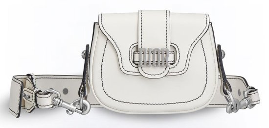 Dior D-Fence white mini saddle bag as seen on Rihanna