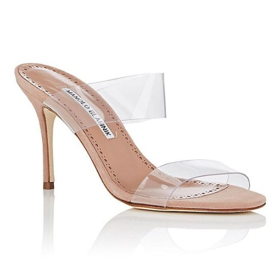 Manolo Blahnik Scolto pvc and suede mules as seen on Rihanna