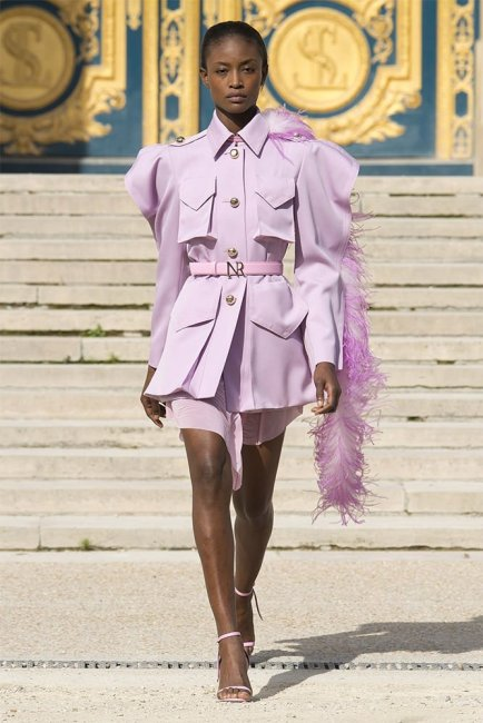 Nina Ricci Spring 2018 lilac jacket and pink dress as seen on Rihanna