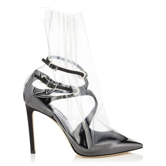 Off-White x Jimmy Choo Spring 2018 plastic-wrapped black pumps as seen on Rihanna