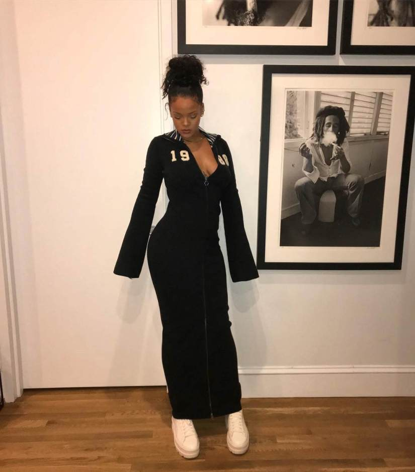 Rihanna Fenty Puma sweater maxi dress and ankle strap sneaker