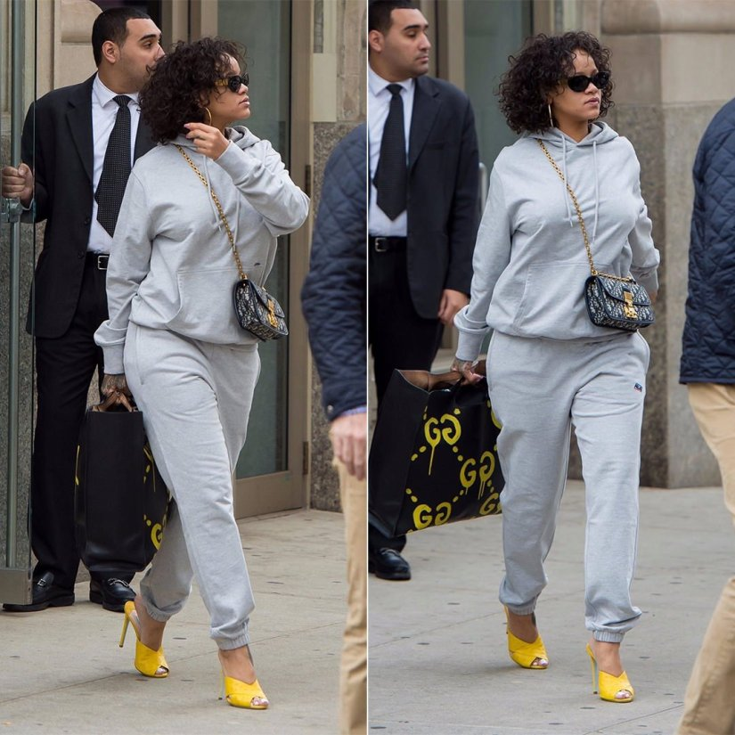 Rihanna Palace Skateboards hoodie jogger grey, Prada yellow ostrich mules, Dior Dior Addict handbag, Gucci Ghost graffiti tote, Jennifer Fisher classic hoops