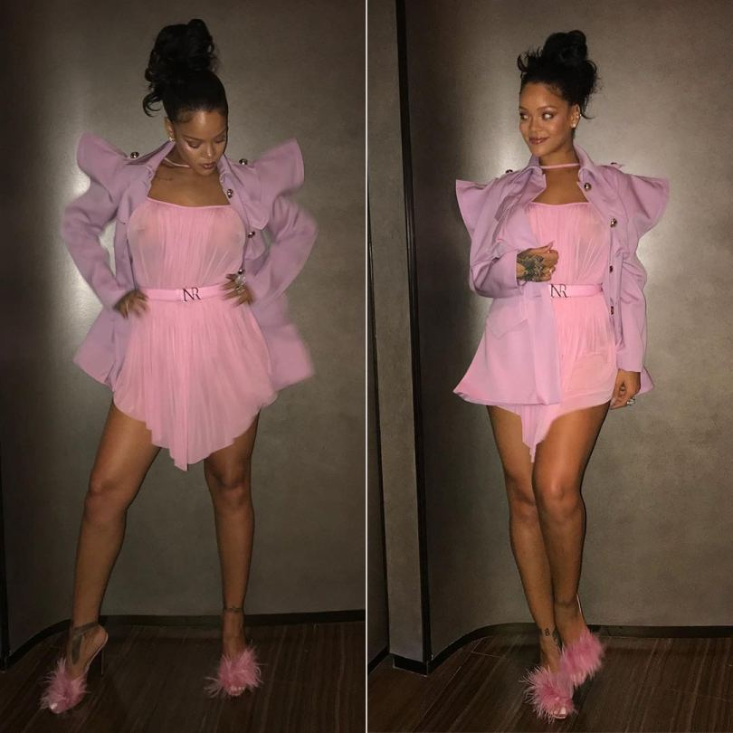 Rihanna Instagram Nina Ricci Spring 2018 look lilac jacket and pink sil dress, Prada pink feather mule sandals