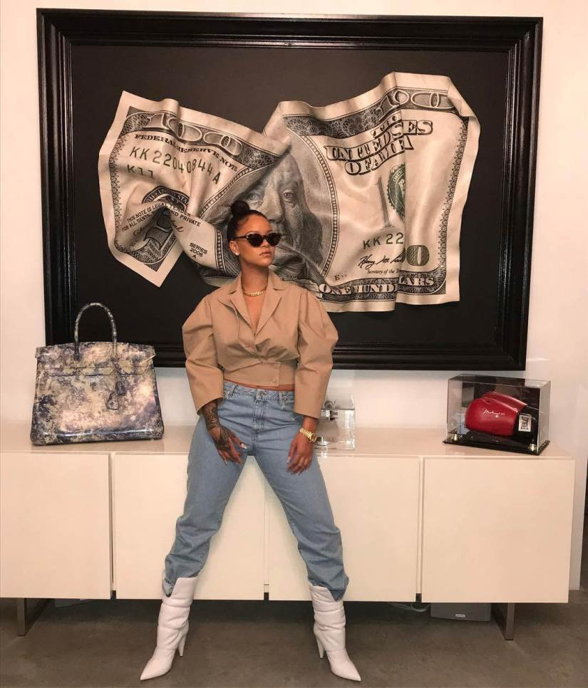 Rihanna Off-White Spring 2018 beige jacket, straight jeans and padded white boots