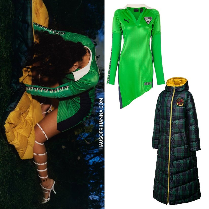 Rihanna Dazed magazine 2017 Fenty x Puma asymmetric green poo dress and reversible quilted plaid coat