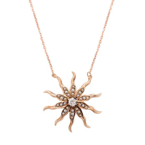 Turner & Tatler gold, pearl and diamond starburst necklace as seen on Rihanna