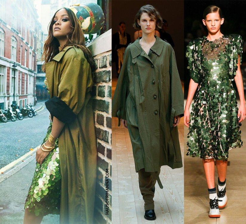 Rihanna Vogue Arabia magazine Celine coat and Miu Miu green sequin dress