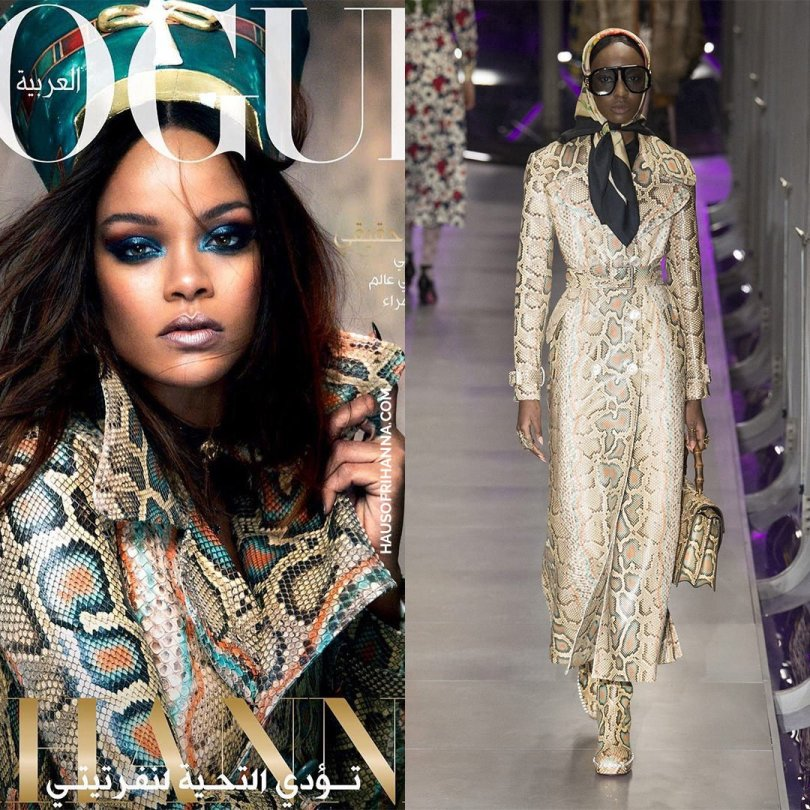 Rihanna Vogue Arabia magazine Gucci Fall 2017 python snakeskin coat
