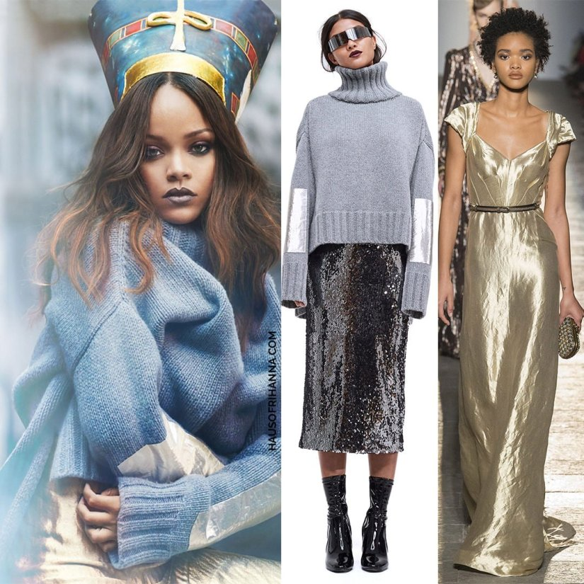 Rihanna Vogue Arabia magazine Bottega Veneta Fall 2017 gold metallic dress, Sally Lapointe turtleneck sweater with metallic patches