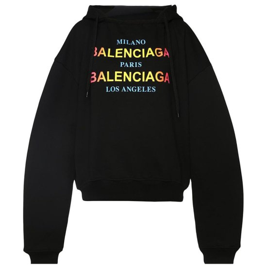 Balenciaga black Milano Paris Los Angeles cities hoodie as seen on Rihanna