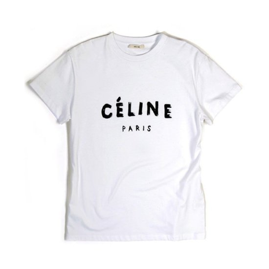 Celine white logo t-shirt as seen on Rihanna