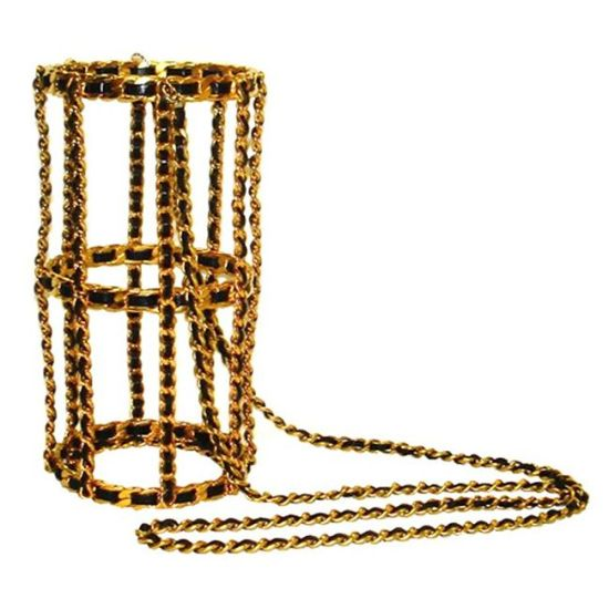 Chanel vintage 1994 gold and leather bottle holder as seen on Rihanna