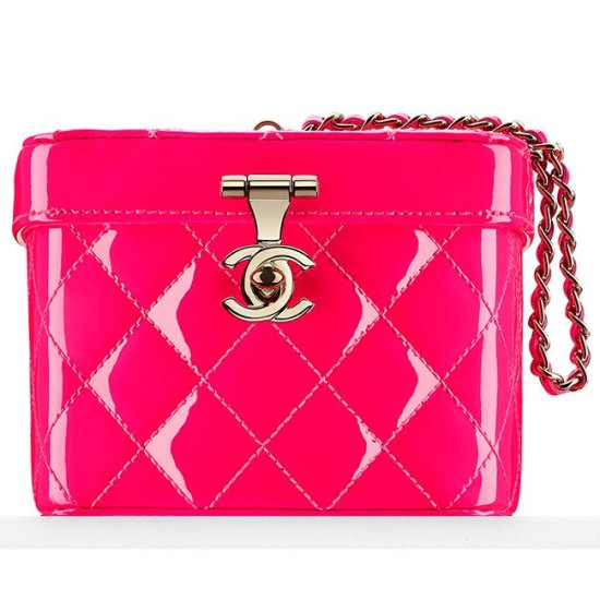 Chanel patent leather makeup train case minaudiere as seen on Rihanna