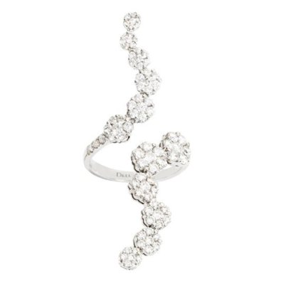 Djula white gold and diamond ivy ring as seen on Rihanna