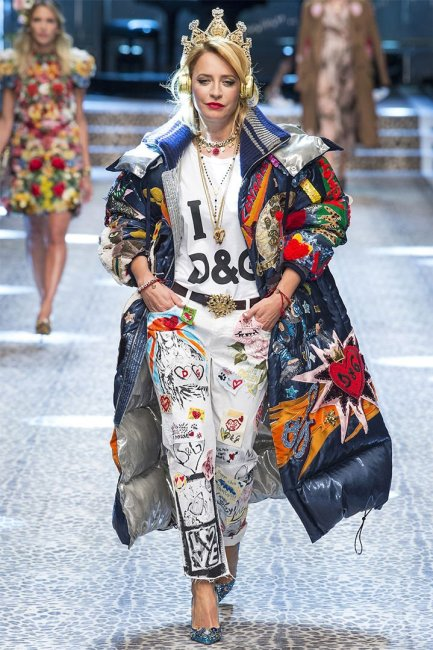 Dolce and Gabbana Fall 2017 colourful padded coat as seen on Rihanna