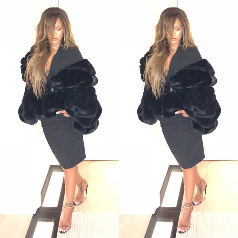 Rihanna Instagram vintage Chanel dress, black fur jacket, Tom Ford black gold chain sandals