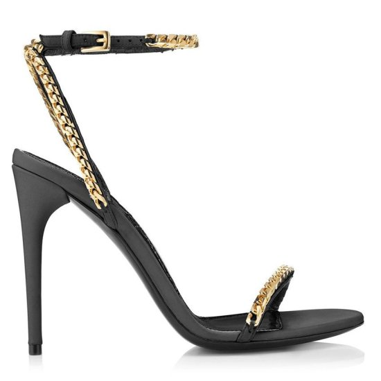 Tom Ford black gold chain sandals as seen on Rihanna