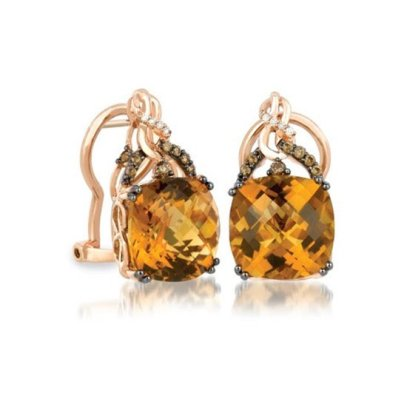 Le Vian cognac quartz earrings as seen on Rihanna