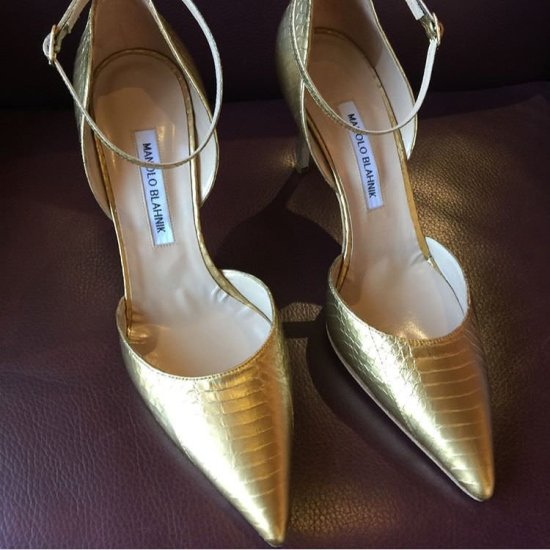 Manolo Blahnik custom gold ankle-strap snakeskin pumps as seen on Rihanna Grammys 2018