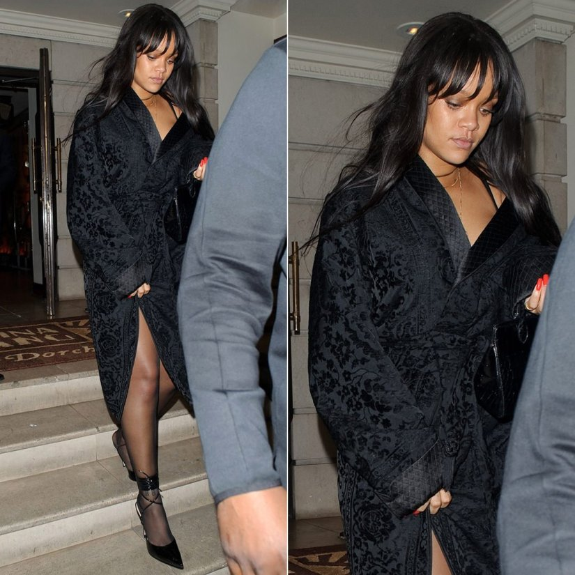 Rihanna Alexander McQueen black robe coat, Manolo Blahnik custom ankle cuff pumps, Azzedine Alaia black mini tote London January 20, 2018