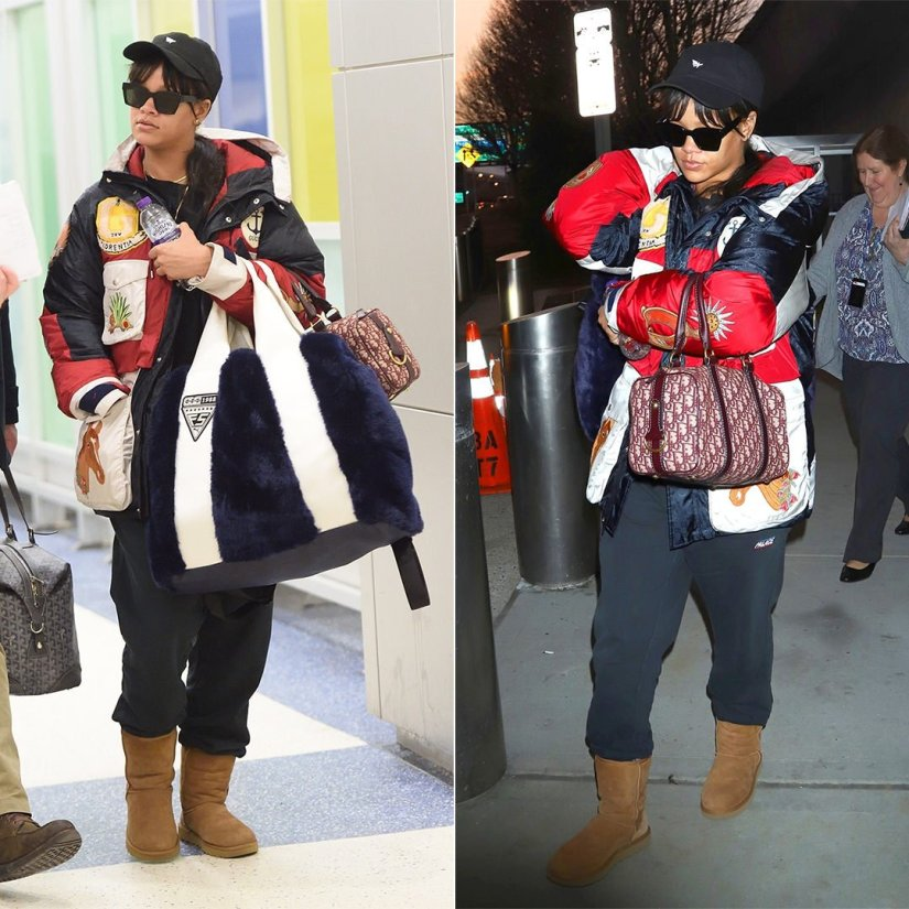 Rihanna Gucci hooded jacket, Palace Skateboards black joggers, Ugg chestnut classic boots, Off-White x Warby Parker large black sunglasses, Dior oblique vintage duffle bag, Fenty x Puma blue faux fur giant shopper, Roc Nation plane icon dad hat JFK aiport January 21, 2018