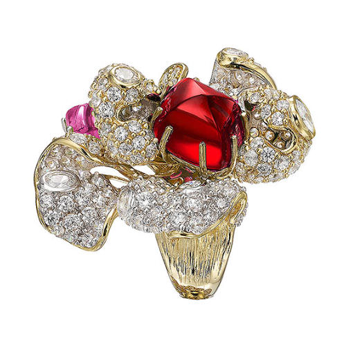 Anabela Chan ruby blossom ring as seen on Rihanna