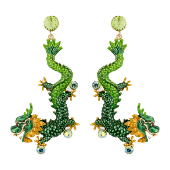 Butler and Wilson Chinese dragon green enamel earrings as seen on Rihanna