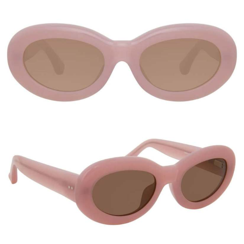 Dries Van Noten Linda Farrow 135 C6 pink oval sunglasses as seen on Rihanna